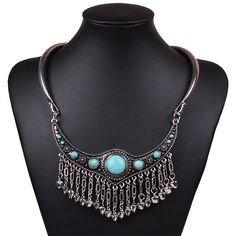 Fashion Crystal Antique Silver Retro Style Long Chain Bell Turquoise Necklace for  Women Ladies Jewelry Gift #eozy #necklace