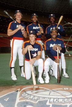 1983 Houston Astros: Back row: Alan Ashby, Jerry Mumphrey, Tony Scott. Front row: Bill Doran, Kevin Bass.