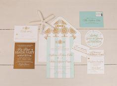 Gold foil and aqua #Nantucket #wedding invitation suite I Custom by Nico and Lala