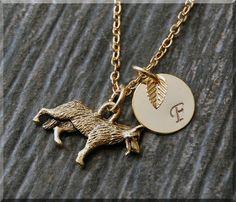 Gold German Shepherd Charm Necklace by charmingpixiejewelry
