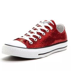 NIB Converse All Stars Chuck Taylor Red Glitter Just ask for a pair to get .99 cent shipping!!!  NEW Gorgeous RARE Converse All Stars Chuck Taylor Red Glitter. Very rare and Limited Edition Style 136089F. Size is Women's 7 Men's 5. Also have women's sizes 6, 7, 8,9 &10. ❌NO TRADES. I DONT TRADE AT ALL.❌  New, never worn shoes with box. Converse Shoes Sneakers