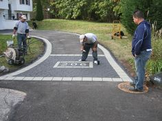 half circle asphalt driveways with Fieldstone border - Google Search