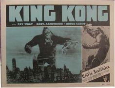 King Kong Movie Posters original lobby card vintage film poster. Vintage movie   memorabilia. See it at www.cvtreasures.com ,  Conway's Vintage Treasures