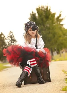 Pirate Costume tutu black and red halloween