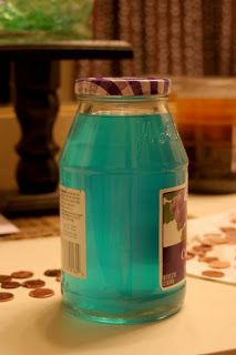 Make a natural, non toxic blue stain for wood by:  Pennies  - 1 cup vinegar (Either white or apple. Apple produces a little more of a teal color rather than bright blue.) - 1/2 cup hydrogen peroxide - 40 ish pennies (this number varies largely on the amount of tint you want to your vinegar.)