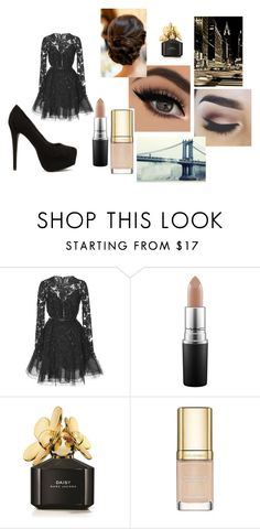 """""""nude black"""" by risosnuri on Polyvore featuring moda, Elie Saab, MAC Cosmetics, Marc Jacobs, Dolce&Gabbana, Nly Shoes, Avenue y gold"""