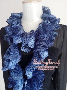 25.00$  Buy now - http://vihbm.justgood.pw/vig/item.php?t=yq8bmjz2913 - Blue Crochet Scarf, Sashay Scarf, Crochet Ruffle Scarf, mother's day gift A013