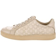 Pre-owned Louis Vuitton 2016 Monogram Leather-Trimmed Sneakers ($495) ❤ liked on Polyvore featuring men's fashion, men's shoes, men's sneakers, neutrals, mens tan shoes, mens sneakers, mens low tops, mens lace up shoes and mens round toe dress shoes