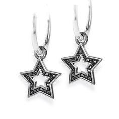Style & Go, Stars Einhänger für Creolen aus Silber geschwärzt & schwarzem Zirkoniapaveé.