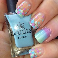 Pretty polka dot turquoise and lavender summer nails.