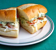 Roasted shrimp po' boy sandwich with Greek yogurt cole slaw and remoulade sauce {http://www.theperfectpantry.com/}