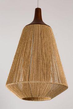 Pair of Teak and Jute Pendants by Fog & Mørup 4 Boho Lighting, Basket Lighting, Lighting Design, Beaded Chandelier, Chandelier Pendant Lights, Pendant Lamp, Scandinavian Lighting, Rattan Lamp, Lampe Art Deco