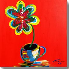 "Coffee and a Flower  acrylic & metal on museum stretched canvas  36"" x 36""  $750"