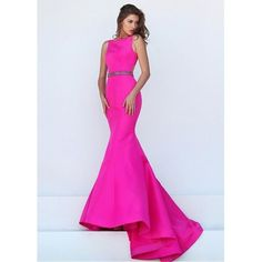 Charming Satin Bateau Neckline Mermaid Evening Dresses With... ❤ liked on Polyvore featuring dresses, satin cocktail dress, rhinestone dress, boatneck dress, satin dress and boat neckline dress