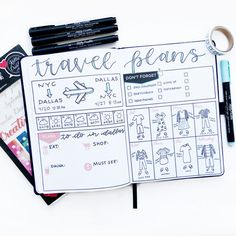 Organize Your Travel Plans in Your Journal : Meagan ( has come up with a brilliant layout for travel plans that I can definitely use in my journal! She's so creative! Supplies from Kelly Creates: Creative Journal… Organize Your Trav Bullet Journal Travel, Travel Journal Scrapbook, Bullet Journal Quotes, Bullet Journal Ideas Pages, My Journal, Bullet Journal Inspiration, Journal Pages, Travel Journals, Bullet Journal Packing List