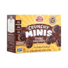 Enjoy Life Crunchy Minis Double Chocolate Chip Cookies are gluten-free, dairy-free, and soy-free, but packed with rich chocolate flavor.