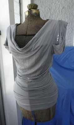 BEBE SIZE XS GRAY W/ SILVER SEQUINS IN SLEEVES DRAPED COWL NECKLINE TOP