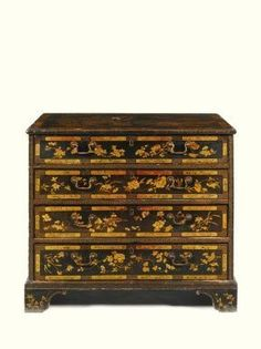 A Chinese Export painted black lacquered chest of drawers; probably Canton, late 18th c. 79cm. high, 90.5cm. wide, 57cm. deep;