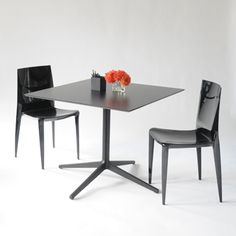 New! the leo square, black work table.  4 prong leg base with laminate top - taylor creative inc