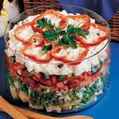 Layered Chicken Salad Recipe -This cool main-dish salad really hits the spot during the warm summer months. Plus, its colorful layers look so appealing. Served with a roll or muffin, it's a complete meal. -Kay Bridgeman, Lexington, Ohio