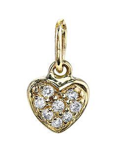 Sydney Evan 14k Yellow Gold Diamond Baby Heart Charm Pendant