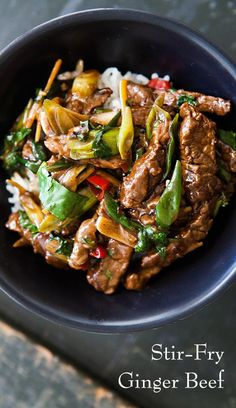 Stir Fry Ginger Beef Beef sirloin strips marinated in soy sauce rice vinegar honey ginger and chile then quickly stirfried with green onions chile ginger and garlic Stir Fry Recipes, Meat Recipes, Asian Recipes, Cooking Recipes, Healthy Recipes, Ethnic Recipes, Sandwich Recipes, Chinese Beef Recipes, Recipies