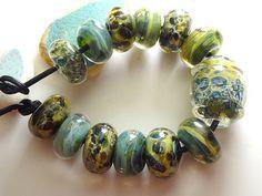 Lampwork Borosilicate Beads LICHEN Two by TwoSistersDesignss, $22.00