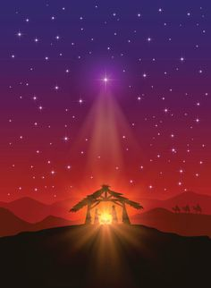 Christian background with Christmas star, birth of Jesus and three wise men, illustration. Christmas Jesus, Christmas Nativity Scene, Christmas Star, Christmas Pictures, Christian Christmas, Christmas Picture Background, Christian Backgrounds, Christian Background Images, Nativity Silhouette