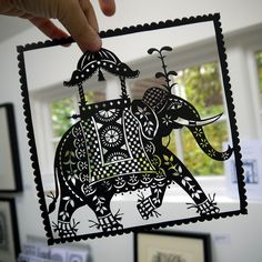 Indian Elephant papercut by Suzy Taylor