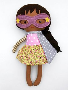 Black superhero girl doll, a rag doll toy for mixed race kids, african american doll for toddlers with cape and mask, -- To view further for this item, visit the image link. (Amazon affiliate link)