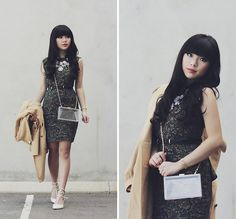 Lace Green Dress, Clear Box Perspex Clutch, Rockstud Heels, Double Breasted Coat