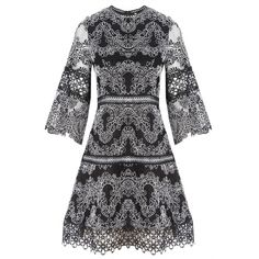 Alexis Karina Embroidered Dress (£555) ❤ liked on Polyvore featuring dresses, alexis dresses, embroidered dress, broderie dress and embroidery dress