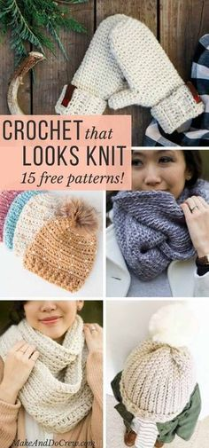 Each of these free patterns magically use crochet that looks like knitting to create on-trend hats, sweaters, mittens and more. If you want to learn how to make crochet look like knitting, you& love this collection of easy projects and tutorials. Crochet Gloves, Crochet Beanie, Knit Or Crochet, Crochet Crafts, Easy Crochet, Crochet Stitches, Crochet Projects, Crochet Pattern, Crochet Ideas