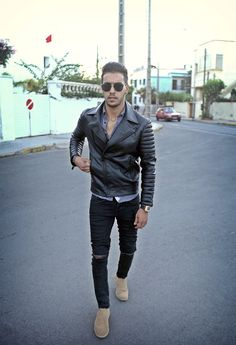 Marwan El - Zara Leather Biker Jacket, Richard Mill Watch, H&M Jeans, Chelsea Boots - Moving on to something Better. | LOOKBOOK