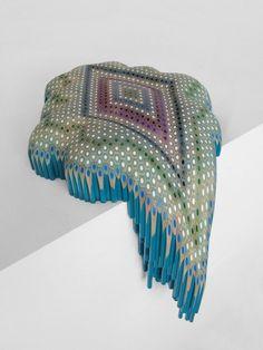 pattern spill  2014 by Lionel Bawden coloured Staedtler pencils, epoxy & incralac on Perspex shelf form: 25.0 x 31.0 x 26.0 cm shelf: 7.5 x 45.0 x 30.0 cm