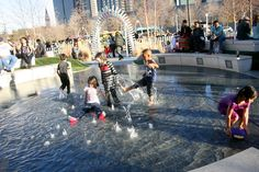 January and the weather got warm enough for fountain running and water play...The playground is awesome! State of the art and when this was taken, the new dreams were being dreamed about giant building blocks and puppet shows and kids concerts...