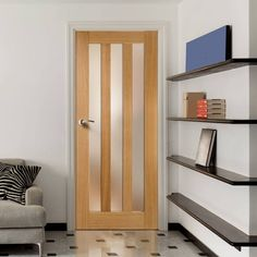 This Utah oak door has frosted safety glass, a modern feel and simple styling, a classic. Pine Doors, Oak Doors, Entry Doors, Front Doors, Shaker Style Doors, Shaker Doors, Internal Wooden Doors, Oak Bathroom, Safety Glass