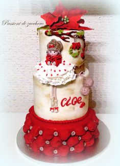 bon Noel by passioni di zucchero Christmas Cupcake Cake, Christmas Cake Decorations, Christmas Treats, Birthday Cake Decorating, Cake Decorating Supplies, Beautiful Cakes, Amazing Cakes, Little Girl Cakes, Candy Cakes