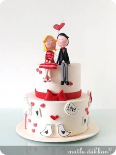 A very cute and elegant cake for Valentine's day. I love the design, simple but so pretty! Fancy Cakes, Cute Cakes, Pretty Cakes, Gorgeous Cakes, Amazing Cakes, Cake Magique, Fondant Cakes, Cupcake Cakes, Heart Cakes
