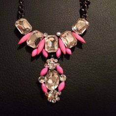 "Hot Pink Statement Necklace Hot pink necklace with a dark metal chain, 16"" Charlotte Russe Jewelry Necklaces"