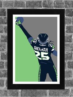 Seattle Seahawks Richard Sherman Portrait Sports Print Art 11x17