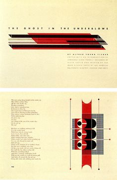 Pages from Ghost in the Underblows (Ward Ritchie Press, 1940), one of Lustig's masterpieces of typecase composition, influenced by Frank Lloyd Wright.