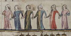 Manuskriptutmaningen i Vi som syr medeltidskläder, siktar på den pastellrosa surcoten på kvinnan längst till höger.