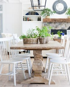 Cottage White Dining Room Furniture Lake House Dining Room the Lilypad Cottage Cottage Dining Rooms, Farmhouse Dining Room Table, Gray Dining Chairs, Dining Room Furniture, White Chairs, Natural Wood Dining Table, Wood Chairs, Wicker Chairs, Furniture Design