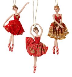 Red/Gold Porcelain Ballerina Ornament - Set of 3 - Style Number: C8540 $23.50 #discountdance #greatgifts