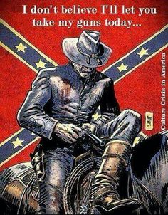 """Confederate soldier w flag background - """"I don't believe I'll let you take my guns today."""""""