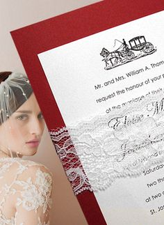 Red Wedding Invitations with Lace Wrap