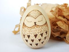 Owl wooden egg. Wood burning egg. Wood burned owl. by DecorAsylum