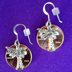 Lucky Penny Earrings with Palmetto Moon Charms  by AnnPedenJewelry, $9.99