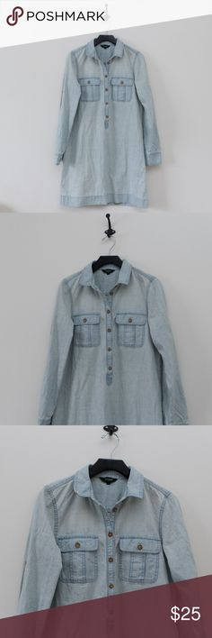 """J.CREW Chambray Shirtdress Tunic Denim Top Pocket Great pre owned condition light chambray J. Crew shirt dress. Measures 19"""" across armpit to armpit, and 34.5"""" from shoulder to hem. J. Crew Dresses Midi"""